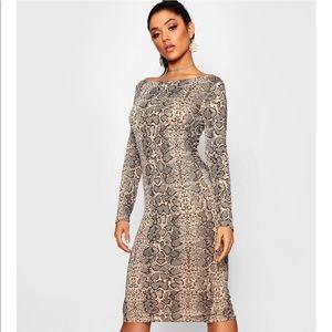 Snake Print Bodycon Midi Dress